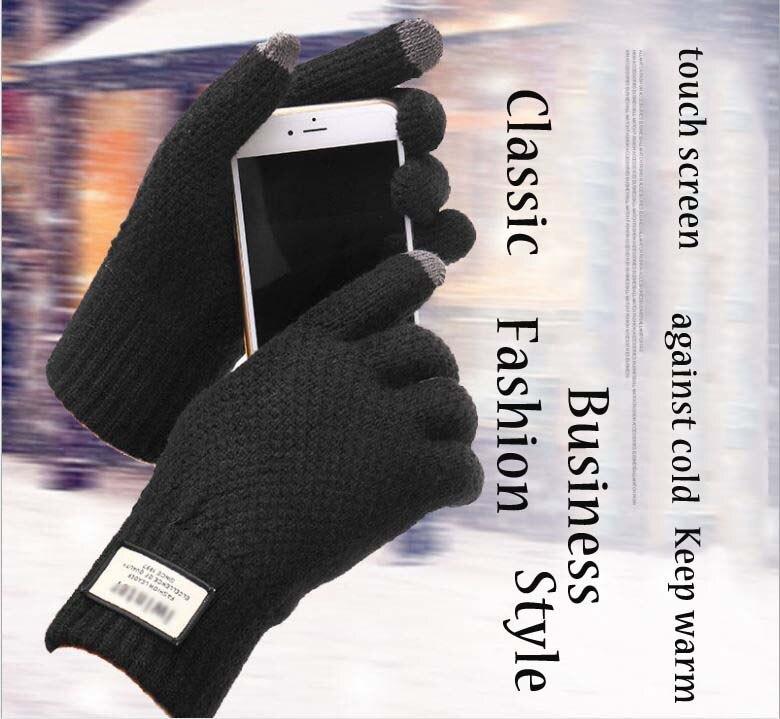 GLV845 Touch screen font b gloves b font Men s autumn winter knitted wool warm font