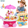 New Arrival Girls Play Children Cute Mini Candy Ice Cream Music Lighting Simulation Toy Cart  Fast Food  Kitchen For Kids gift
