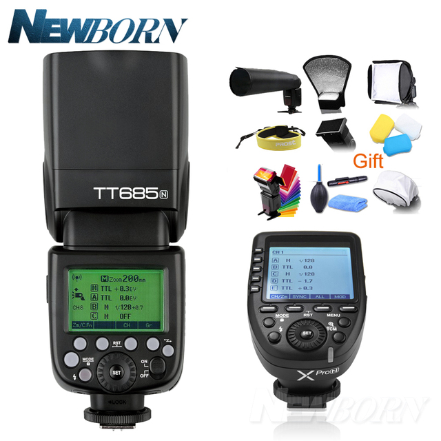 Godox TT685N TTL فلاش كاميرا 2.4GHz عالية السرعة 1/8000s GN60 + Xpro N TTL الارسال اللاسلكي لنيكون D7500 D850 D500 D4 + هدية