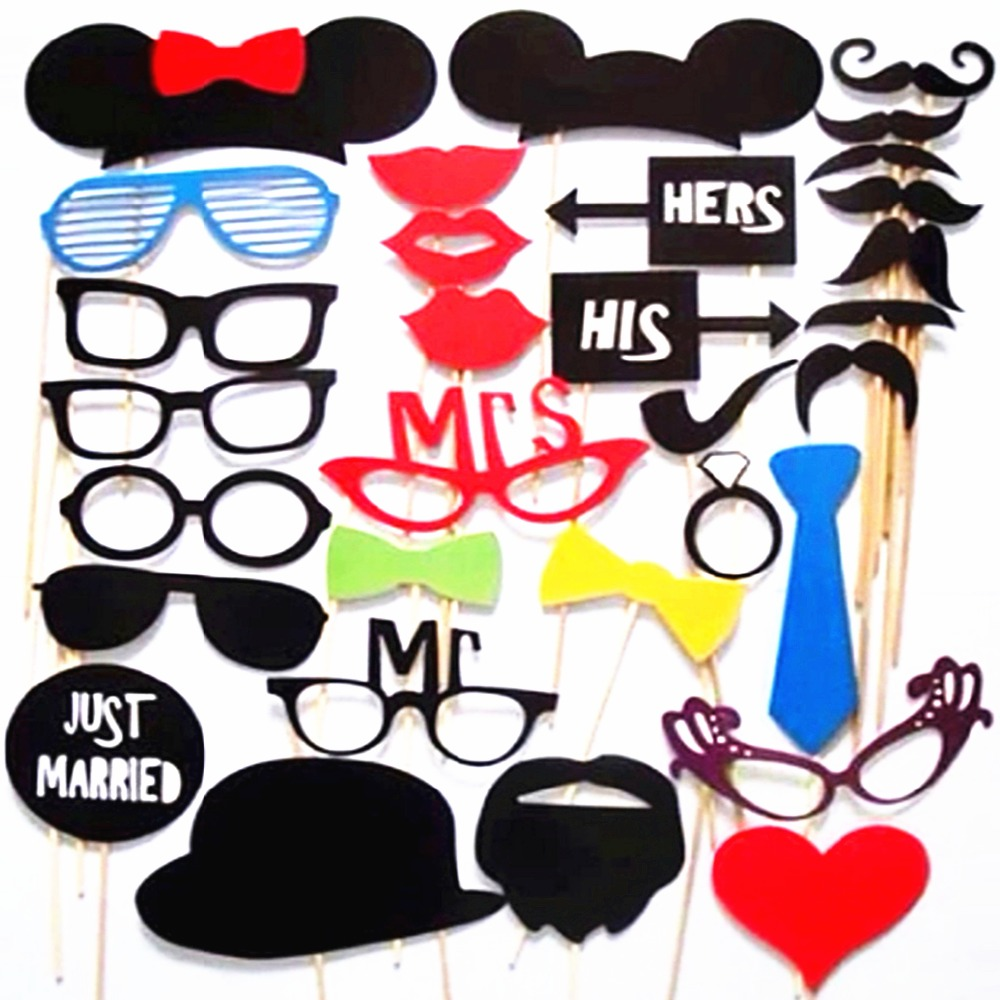 Photo booth props 34pcs party masks hat mustache lip for Accessoires decoration