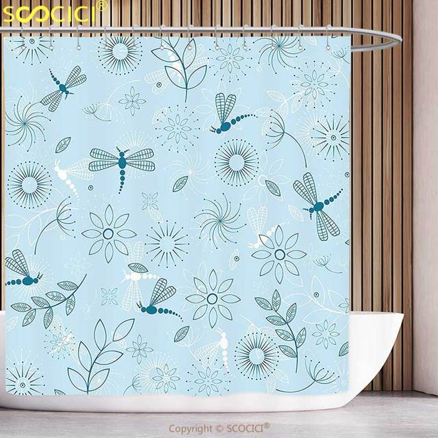Funky Shower Curtain Dragonfly Indian Bugs Leaves Branches Flowers Dandelions Abstract Art Print Seafoam Blue And White Bathroom