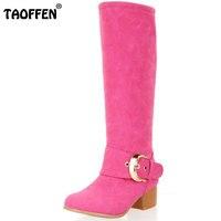 TAOFFEN Size 31 43 Women Thick High Heel Knee High Winter Boots Women Metal Buckle Shoes