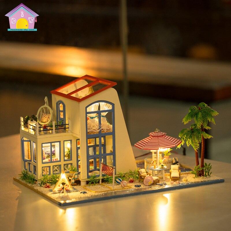 Hongda bricolage grande taille maison de poupée 3D à la main en bois assemble des Kits de construction Miniature maison de poupée