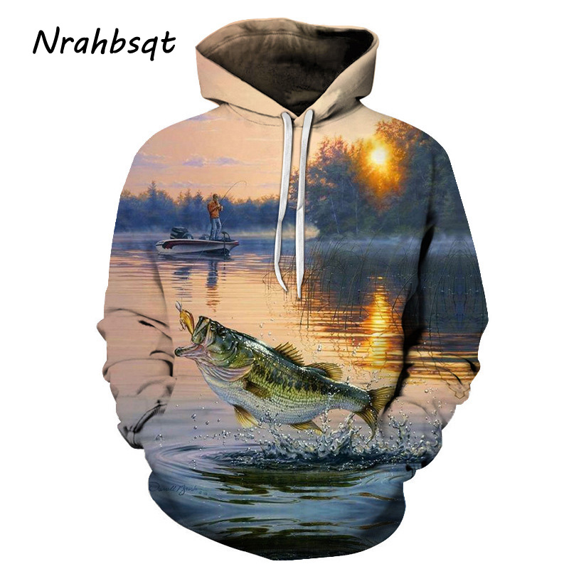 NRAHBSQT Fishing Pattern Print Hoodie Long Sleeve Sports Shirts Loose Hooded Sweatshirt Outdoor Sport Fishing Clothes