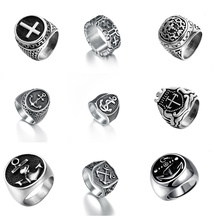 Stainless Steel Iron Knights Templar Cross Boat Anchor Wedding Ring Hiphop/Rock Party Vintage Finger Rings