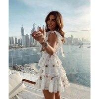 EXCOSMIC белое кружевное мини платье с цветочным принтом женские летние кружевные короткие вечерние пляжные платья высокого качества подиумны