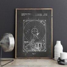 Patente de disco duro, arte de pared de ordenador, carteles, Decoración Geek, estampado vintage, blueprint, idea de regalo, decoraciones de pared
