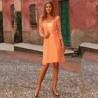 vestidos 2016 Orange Mother of the Bride Dresses with Lace Jacket Three Quarter Sleeves Vestidos Madre de La Novia Cortos
