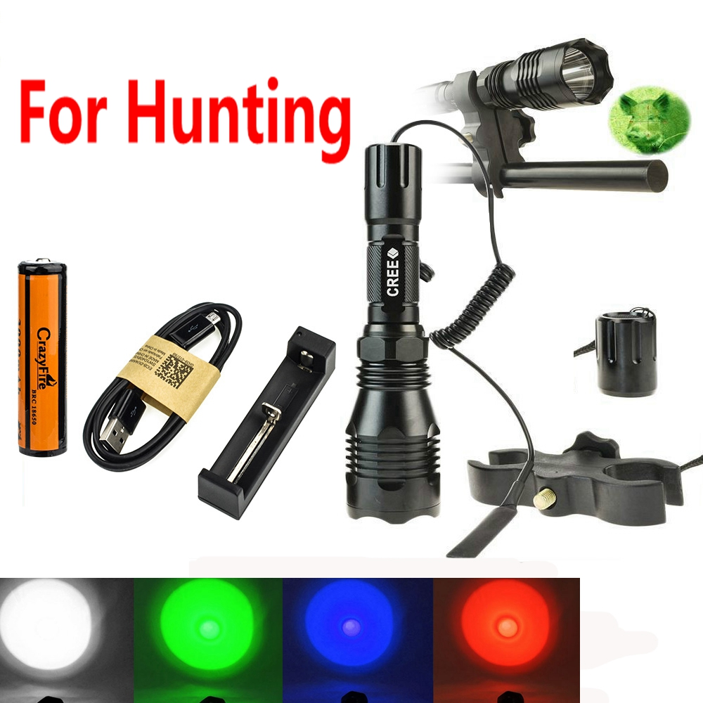 300Meters Long Range CrazyFire CREE XPE LED High Power Hunting Flashlight Torch+Remote Switch+Gun Mount Holder+Battery & Charger цены
