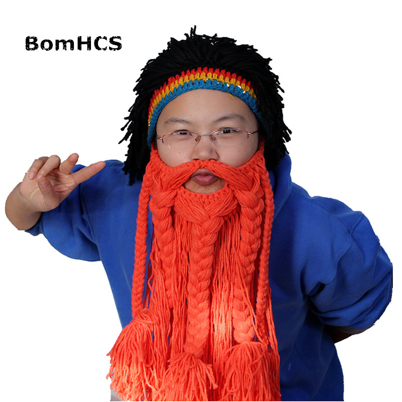 Bomhcs Funny Jamaica Wig +big Beard Beanie Mask Hat 100% Handmade Halloween Gift Party Props