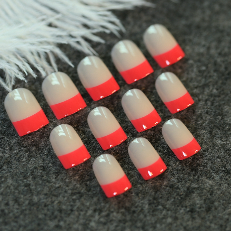 Short Full Wrap French Acrylic Nails Natural with Red Side UV Gel ...