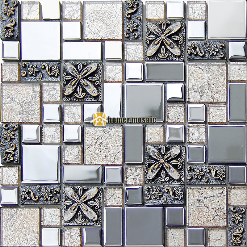 Silver Crystal Glass Mixed 3D Carved Flower Plating Steel Mosaic Tiles For Kitchen Bedroom Living Room