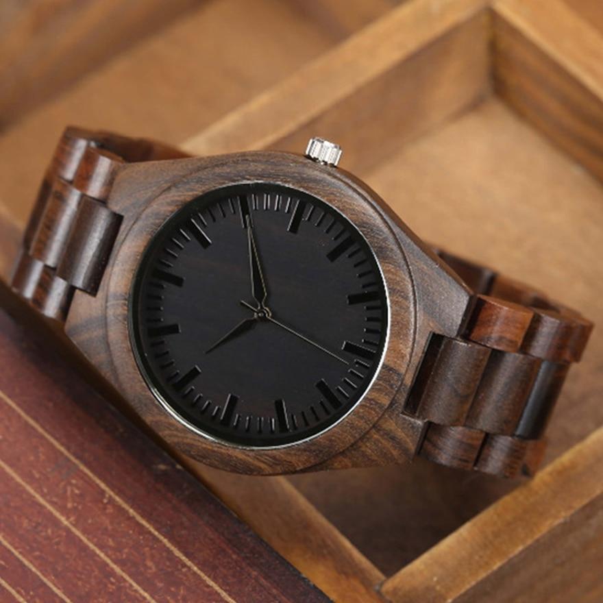 Walnut Wood Watch Men Natural Wooden Watches Male Casual Wristwatch Brown Clock 5