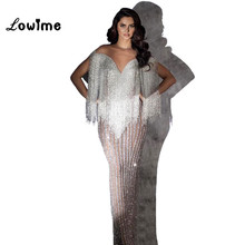 Robe de soirée perlée de luxe 2018 liban Musilm sirène pailletée arabe Dubai femmes robes de soirée formelles robe de soirée Vestidos