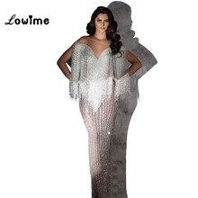 Vestido de noche con cuentas de lujo 2018, vestido de noche Formal de mujer de Dubai árabe con lentejuelas de sirena del Líbano, Vestidos de fiesta