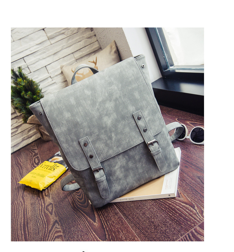 vintage high quality nubuck PU leather women square cover backpack Korean style female school backpack Travel