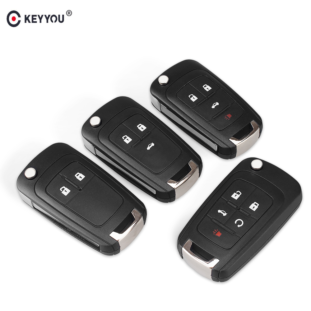 KEYYOU Flip Folding Remote car Key Shell For Chevrolet Cruze Epica Lova Camaro Impala  2 3 4 5 Button HU100 Blade(China)