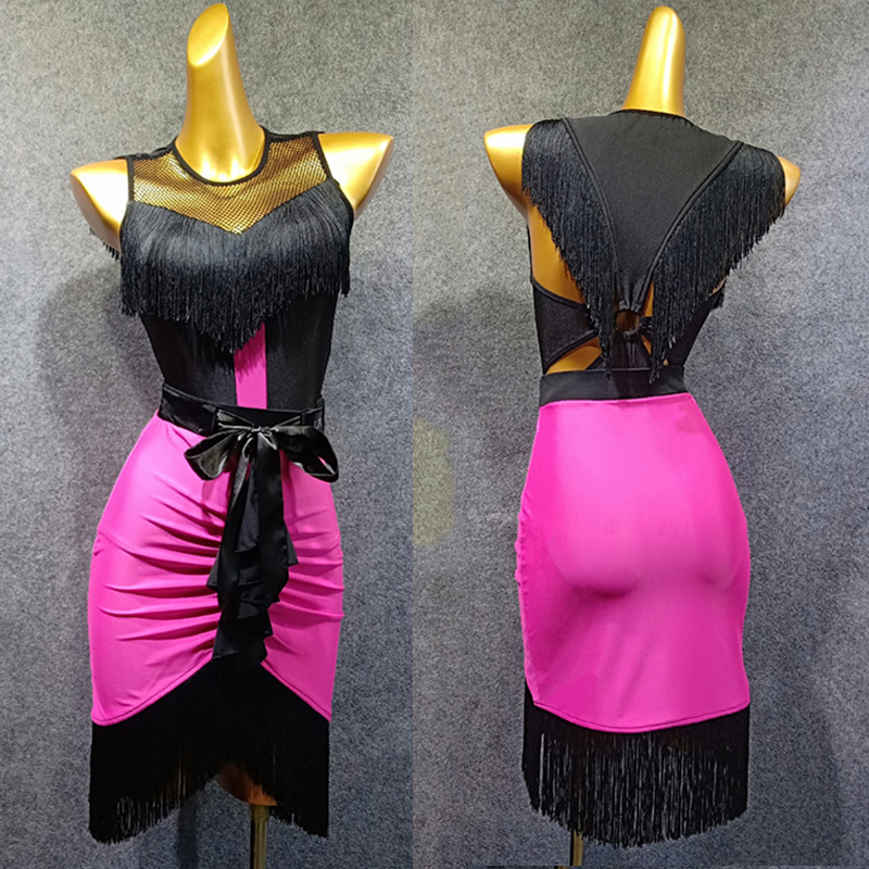 New Latin Dance Dress Women Fringe Dress Ladies 2pcs Skirt Tango Ballroom Flamengo Salsa Competitive Latin Dance Dress BL1299