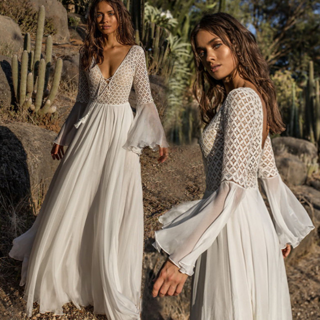395d09151e30 Bohemian Holiday Summer Dress Women Long Flare Sleeve Sexy V Neck  Drawstring Lace Patchwork White Chiffon Long Maxi Dress