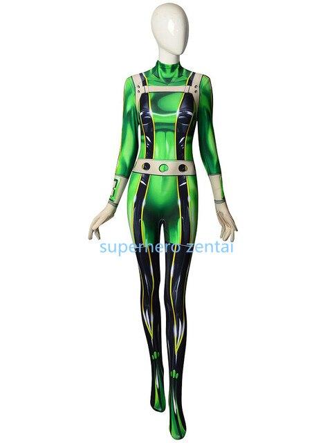 Boku no Hero Academia Froppy Cosplay Costume 3DPrinted Pro Hero Tsuyu Asui My Hero Academia Female Zentai Bodysuit Free shipping