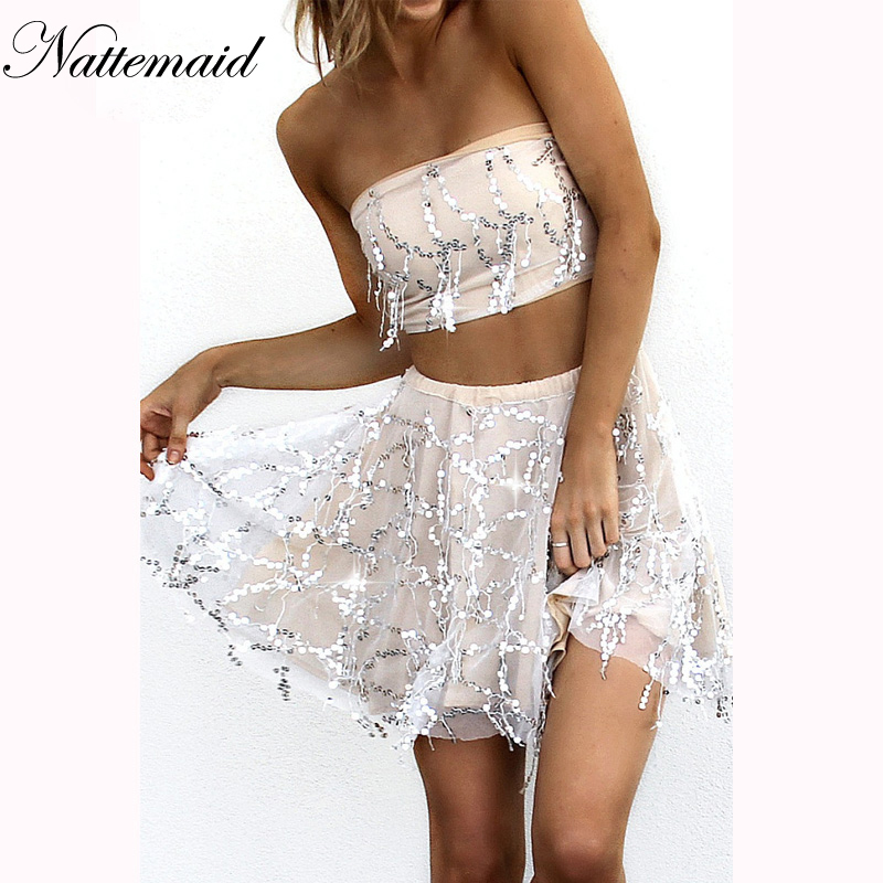 Women's Clothing Nattemaid Bow Crop High Waist 2 Pieces Dress Women Sequin Party Beach Dress Elegant Strapless Yellow Boho Sexy Dresses