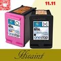 Hisaint Listing Hot 2 Pk Ink Cartridges For HP 61 XL Envy 4500 4504 5530 Officejet 2620 4630 1055 BK/Color printer Free shipping