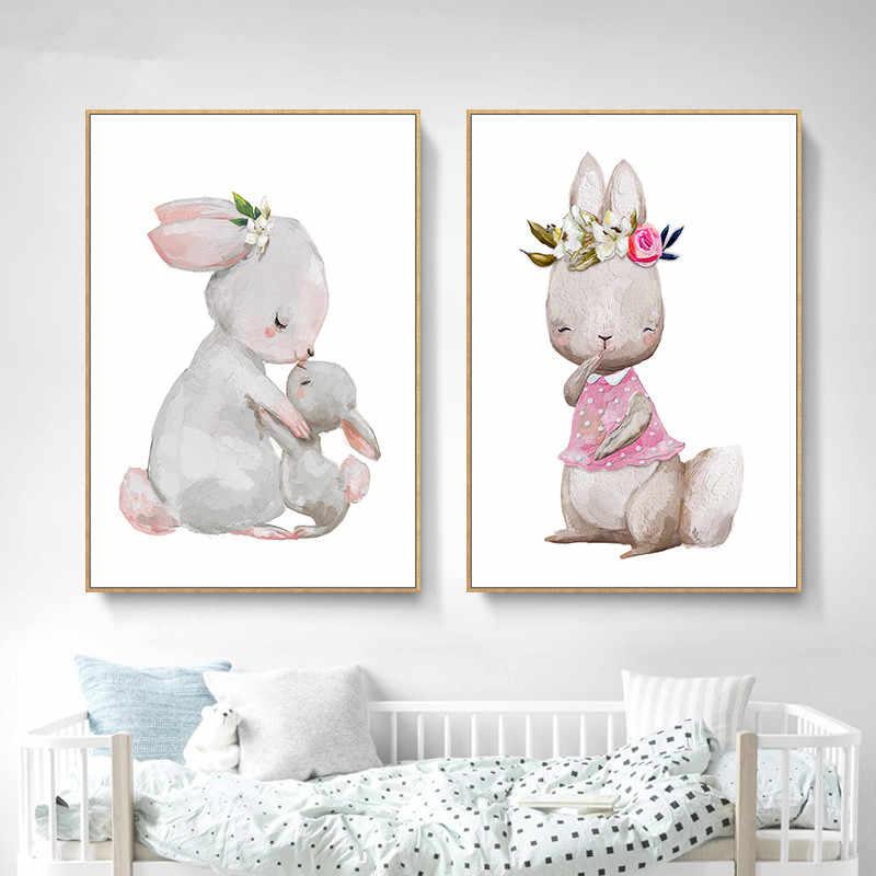 Nordic мультфильм Животные Wall Art холст картины, печать и Плакаты Детские Украшения в спальню Детская Wall Art декоративная картина LB208