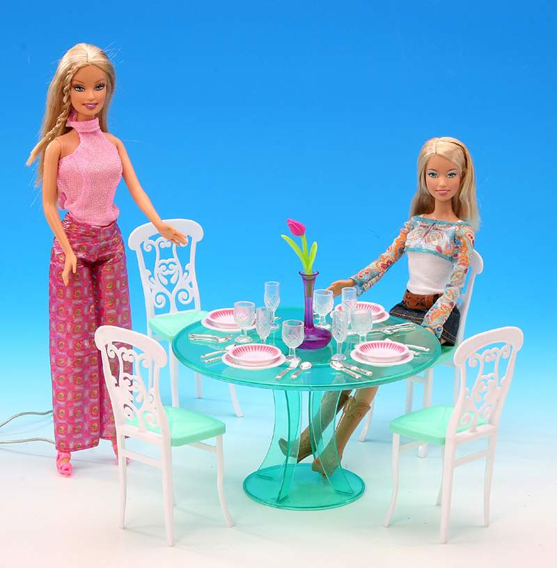 Original For Barbie Dining Table Princess Furniture Kitchen Accessories 1/6 Bjd Doll Dining Table Set Chair Miniature