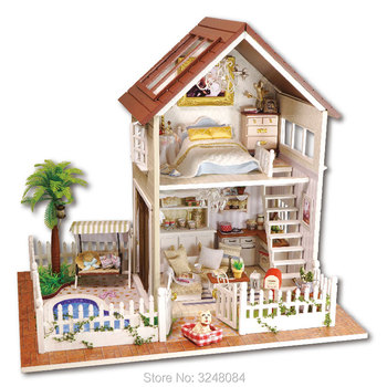 CUTE ROOM New Style 1 Set DIY Doll House Miniature Wooden Toy Dollhouse Handmade Craft Miniature Model Kit Gift