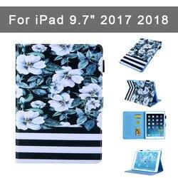 """Модный чехол с принтом для Apple, новый iPad 9,7 """"2017 2018, чехол Funda, чехол A1822 A1823 A1893, PU + tpu, чехол-подставка, можно вставить карты"""