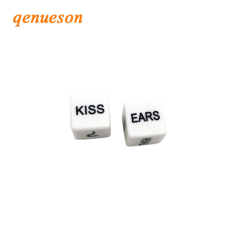 2Pcs/Pair 16mm Dice Set White Drinking Acrylic Club Party Sex Gambling Erotic Dice Toy Couple Novelty Love Funny Gift Board Game image