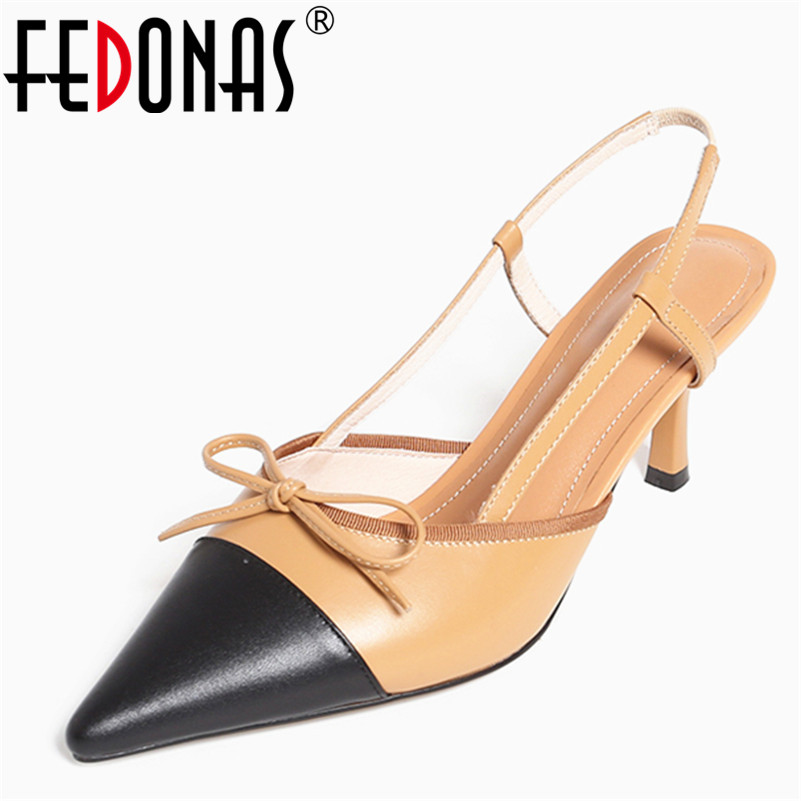 FEDONAS Fashion Genuine Leather Women Sandals Sexy Spring Summer Pointed Toe Bowknot Wedding Party Shoes Woman Female Pumps 2017 new sexy pointed toe high heel women pumps genuine leather spring summer shoes woman fashion dress party casual shoes pumps