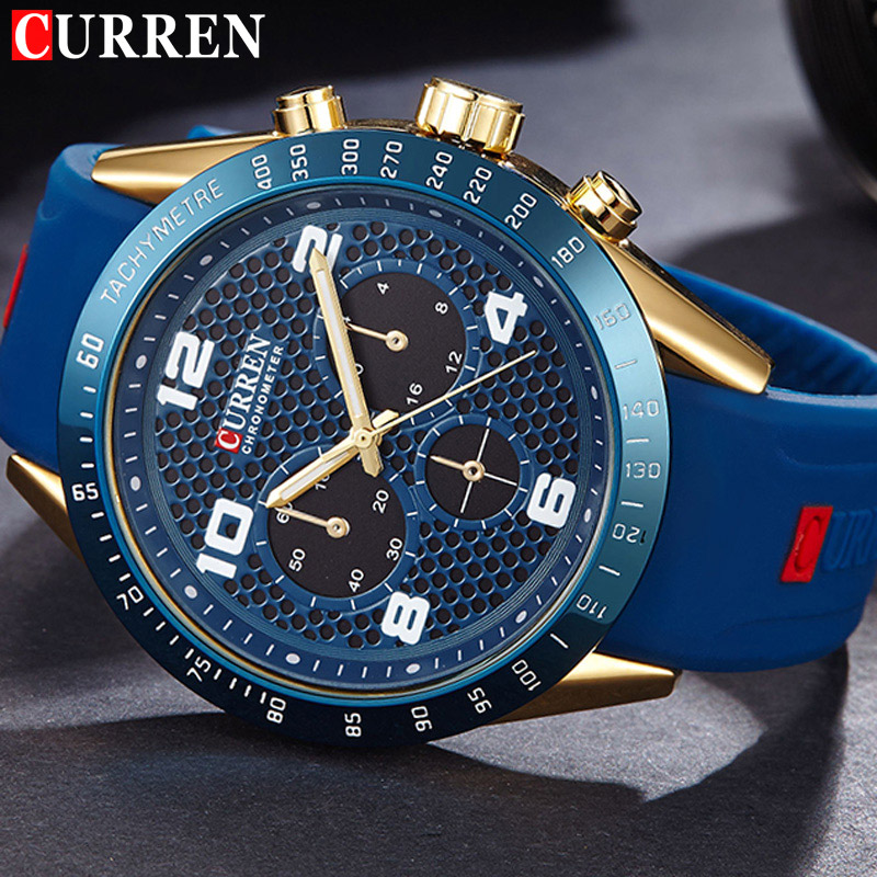 CURREN Men Watch New Top Luxury Brand Sport Military Business Casual Male Clock Rubber Strap Wrist Quartz Mens Watches Gift 8167 curren fashion watches men top brand luxury wrist quartz watch male men sport clock military design casual men s gift clocks