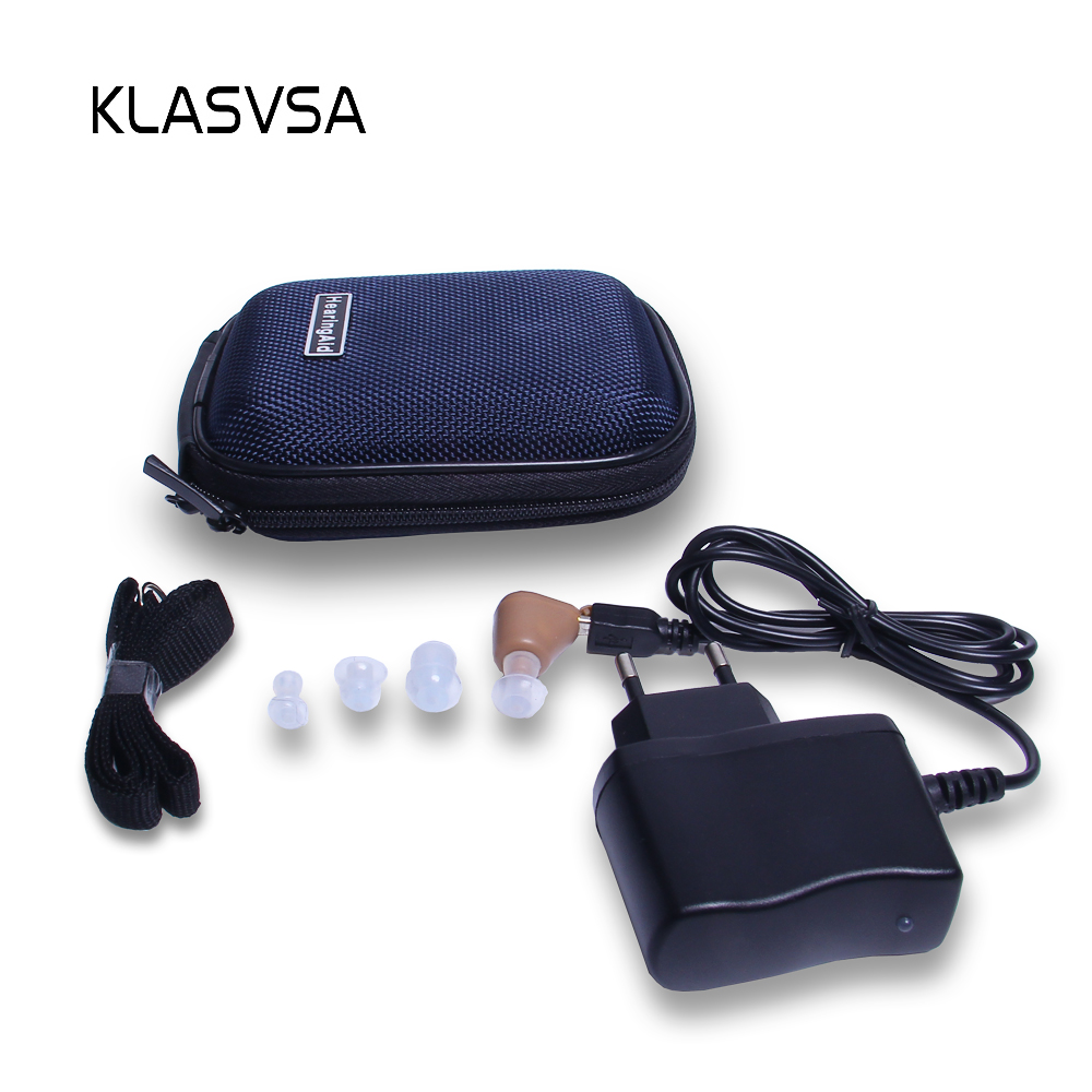 KLASVSA Rechargeable Mini In-Ear Hearing Aid Device Adjustable Sound Amplifier Elderly Acousticon Ear Care Audiphone car styling carbon fiber rear view mirror cover for bmw x5 e70 x6 e71 2007 2013