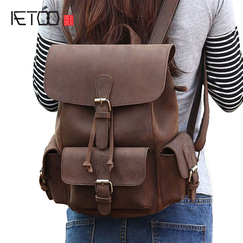 AETOO 2017 new Crazy Horse Leather Ladies backpack retro leisure backpack full leather leather wind