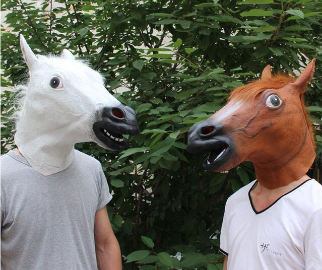 Horse Head Maska Creepy Kürk Mane Lateks Həqiqi Maska Tam Üz - Şənlik aksesuarları - Fotoqrafiya 3
