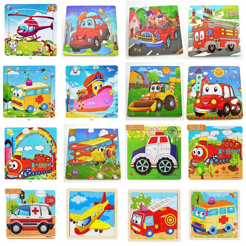 חדש לגמרי עץ פאזל קריקטורה רכב מטוס בעלי החיים פאזל קוגניטיבית ילדים למידה חינוך תחביב חידות צעצועי MP261