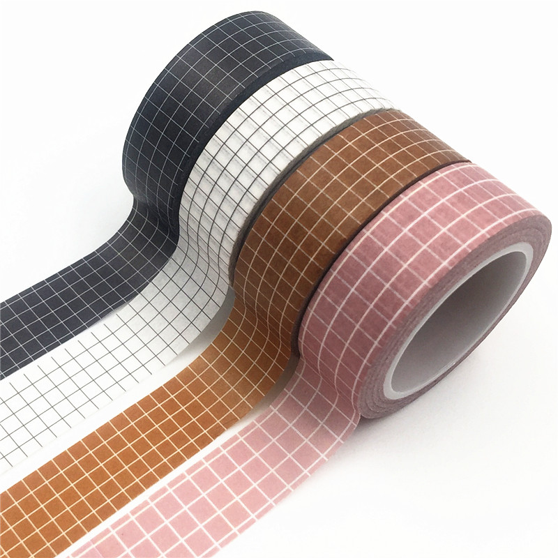 10M Black White Pink Grid Washi Tape Set Japanese Paper DIY Planner Masking Tape Adhesive Tapes Stickers Decorative Stationery