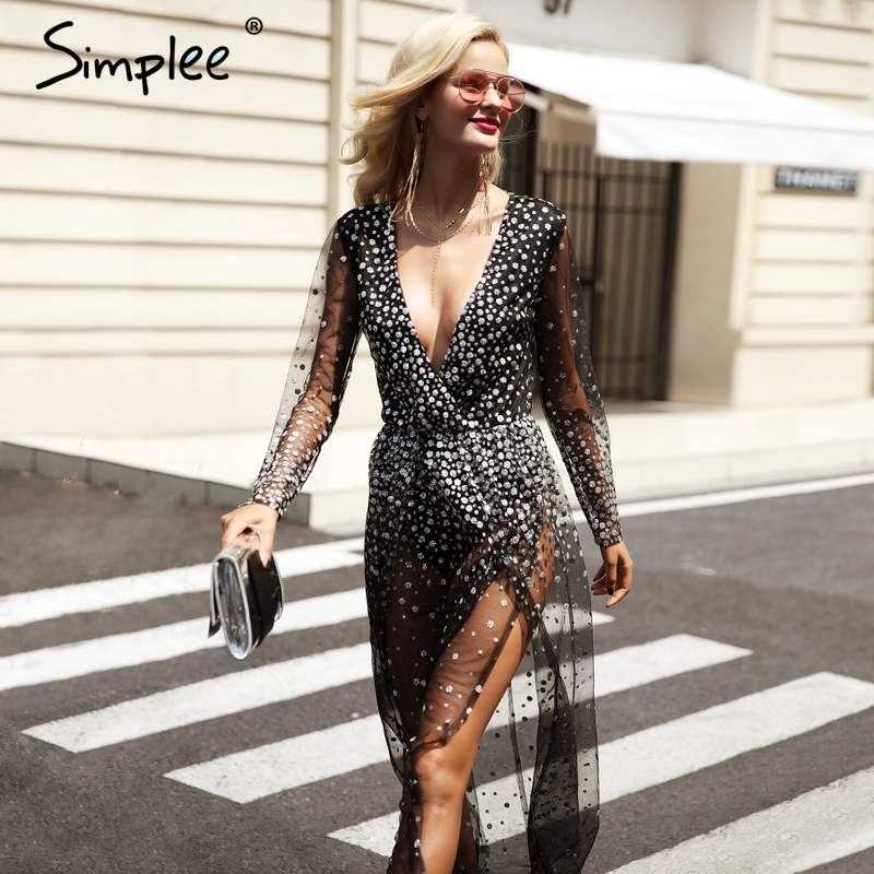 simplee v neck black dress women sexy transparent mesh christmas party dresses vestidos high side split sequins long dress in dresses from womens clothing