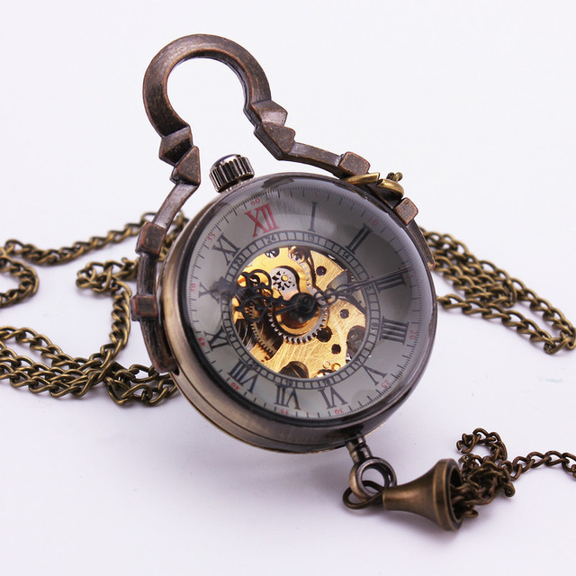 Steampunk  Vintage Retro Bronze Ball Glass Roman Mechanical Pocket Watch Bell Pendant Chain Clock Sweater Necklace Gift TD101