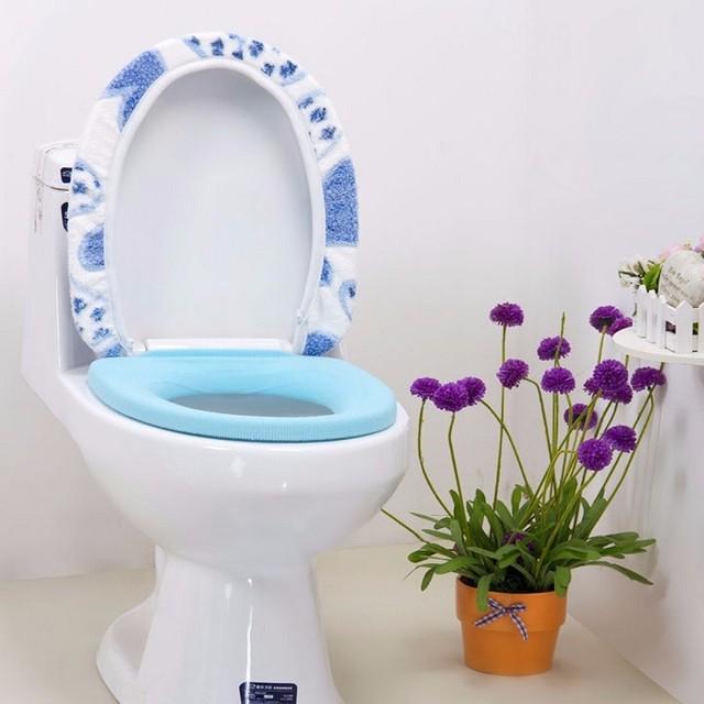 € 5.24 |Salle de bains Warmer Toilettes Siège Pad Tapis Doux Closestool  Rose Bleu En Forme de Coeur Lavable Couvercle Capot Supérieur 2  Pcs/ensemble ...