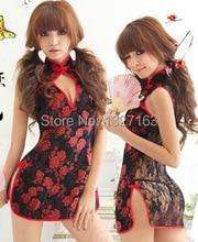 Sexy Cheongsam Lingerie Kimono Costume Set for Women Babydoll Sleepwear