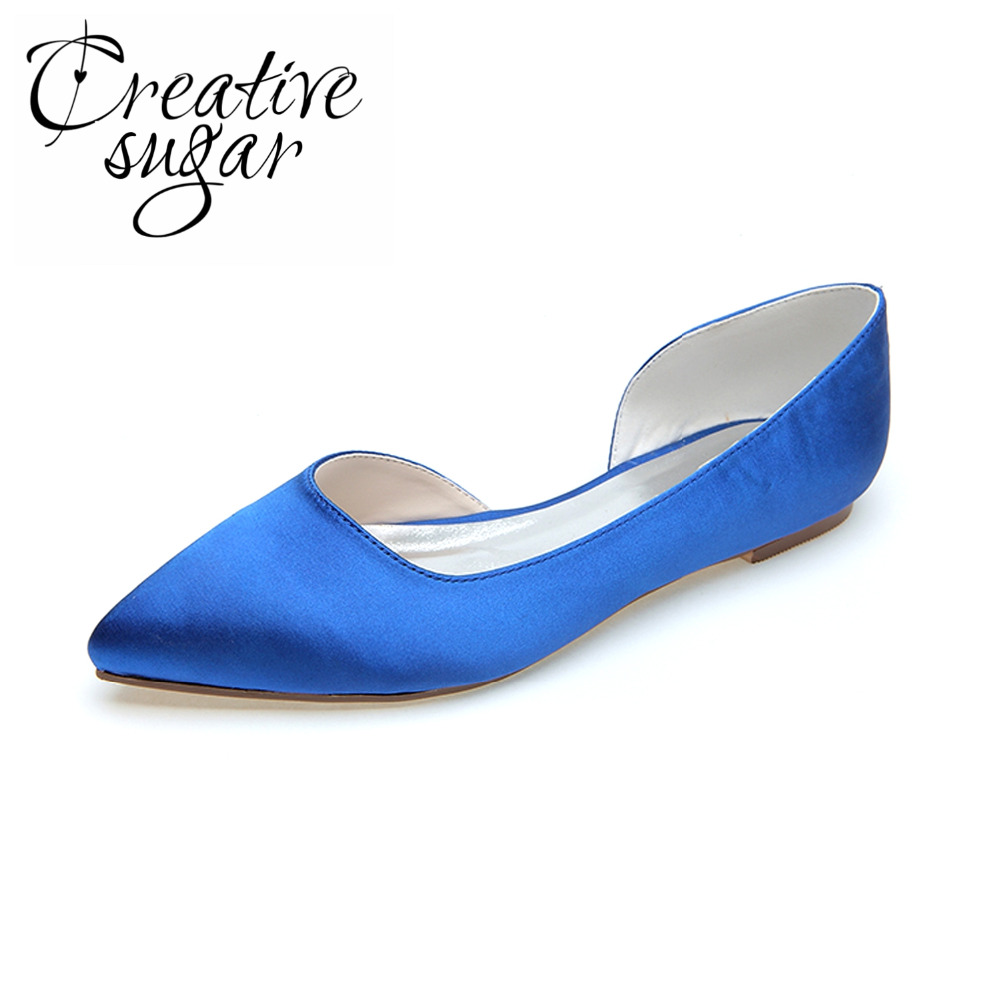 Creativesugar Fashion D orsay flat pointed toe satin women s shoes flats  wedding party prom daily 0e903425d5d0