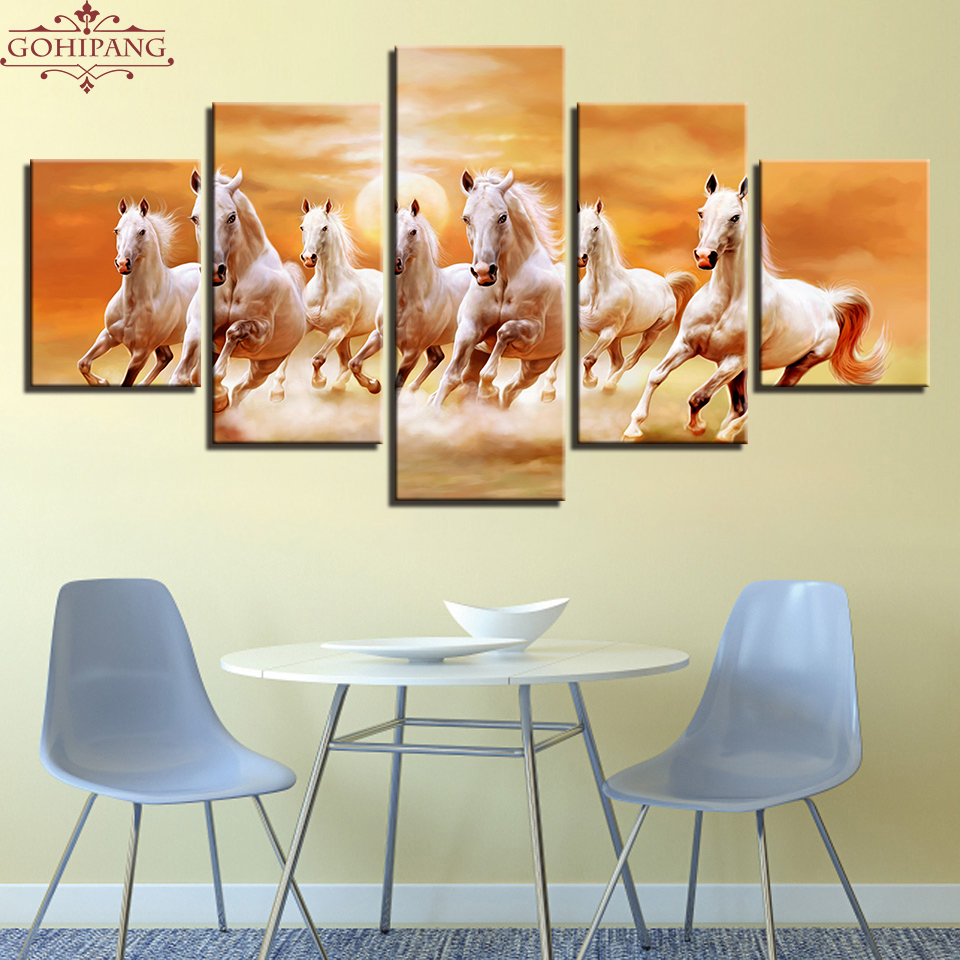Gohipang Framed Canvas Paintings Living Room Wall Art Prints Poster 5 Pieces Running Fine Horses At Sunset Scenery Pictures Home