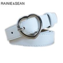 RAINIE SEAN Heart Belts For Women White Ladies Waist Belt Pu Leather Pin Buckle Thin Female Red Black Pink Coffee Dark Blue
