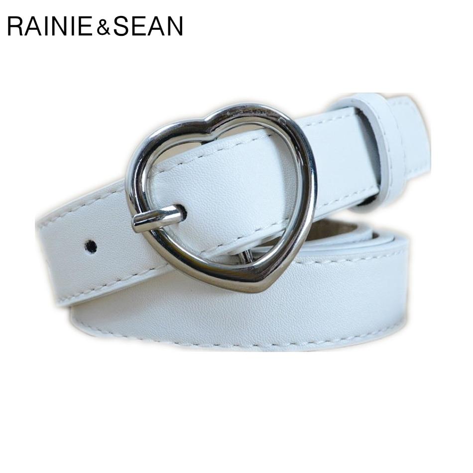RAINIE SEAN Heart   Belts   For Women White Ladies Waist   Belt   Pu Leather Pin Buckle Thin Female   Belt   Red Black Pink Coffee Dark Blue