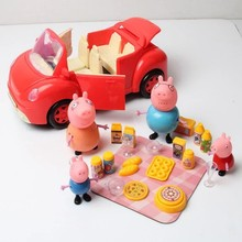 big size New pink pig family doll with car kitchen tools toy Pretend Play good gift for kids toy