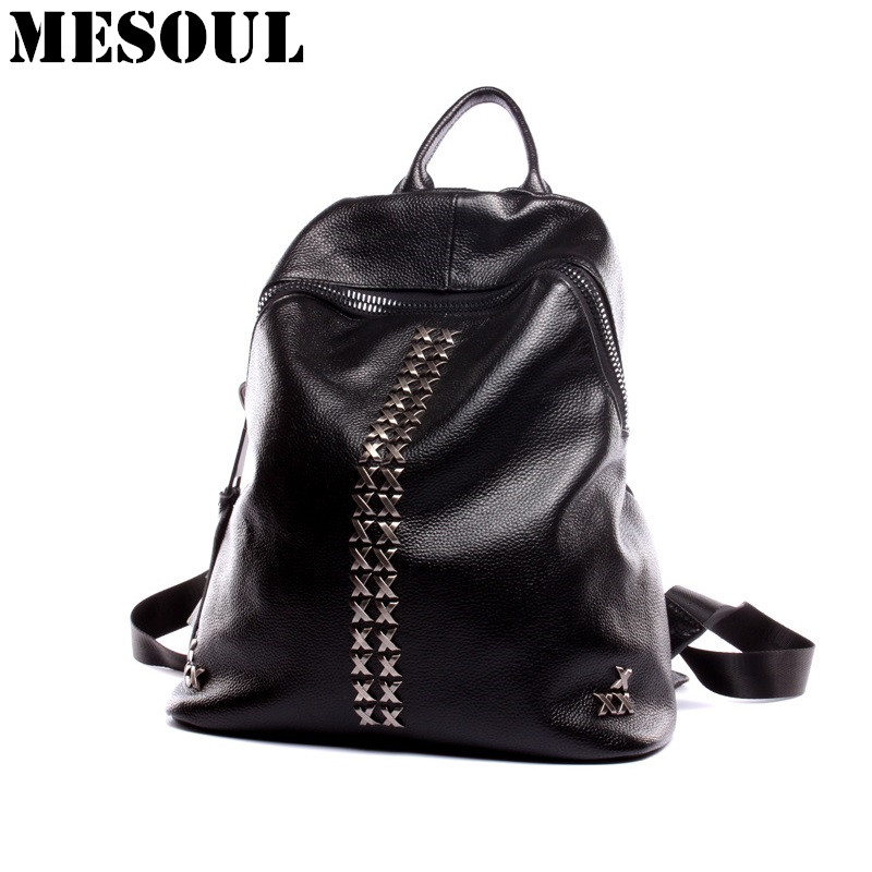 Luxury Design Backpack Bag Real Leather School Bag for Girls Shoulder Bag Fashion Rivet Rucksack Women Backpack Mochila feminina fashion women leather backpack rucksack travel school bag shoulder bags satchel girls mochila feminina school bags for teenagers