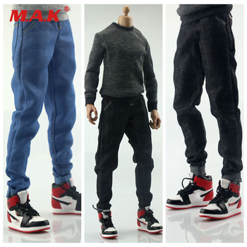 цена на 1/6 Scale Male Clothes Accessory Closing Pants Jeans Clothing Accessories Figure for 12 Slim Male Action Figure Body