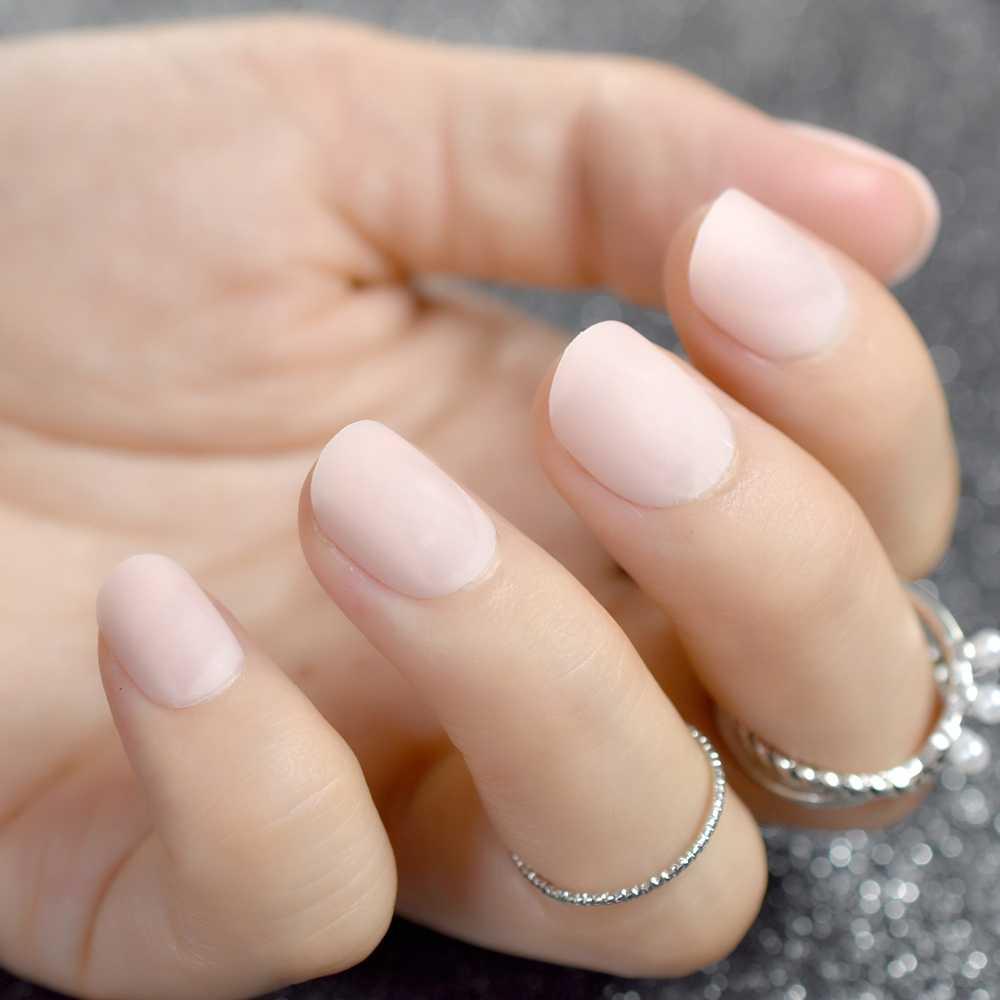 Matte Short Fake Nails Light Pink Round False Nail Kids Acrylic Diy Nail Art Manicure Product 24pcs